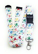 Spirius  CANCER LOGO WHT  Lanyard neck strap for key id badge holder phone key 1