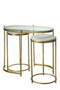 Atkin And Thyme - Iron Oval - Trinity Nesting Side Tables, Furniture, New York