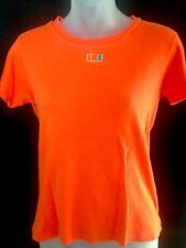 Miami Hurricanes Knit Top T Shirt Orange Antiqua Cotton Embroidered Womens Small