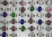 35pcs Wholesale Job Lots Mixed Style Cat's Eye Stone Stainless Steel Ring AH598