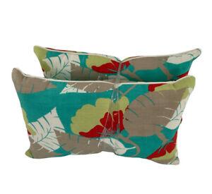 Pillow Perfect Outdoor/Indoor Floral Beachy Multicolor Lumbar Pillows 11X18 New