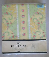 "M&S Vintage St. Michael Yellow & Green Lined Curtains & Tie Backs W66"" x L54"""