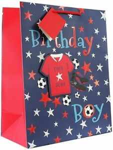 Boys Blue Football Theme with 3D Red Shirt Gift Bags Portrait Birthday gift bag