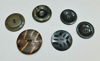"Lot of 6 Vintage 40s-50s Buttons Plastic Metal X-Large 1½"" to 2"" Diameter"