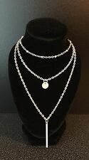 Silver Plated Multi Layer Necklace Ladies Costume Jewellery Chain UK Seller