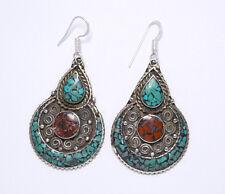 sterling silver earrings ladies tibetan handmade turquoise tribal Er24