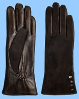 NEW WOMENS size 7.5 BLACK LAMBSKIN LEATHER 4 BUTTON CUFF GLOVES-MICRO FUR LINED