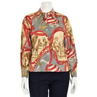 Escada Sport Tan Red Navy Equestrian Print Cotton Button Up Blouse Shirt size M