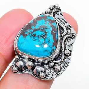 Tibetan Turquoise Gemstone Gift 925 Sterling Silver Jewelry Ring Size 6.5 g559