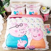 Peppa Pig Pillow Case Quilt/Doona/Duvet Cover Set Single/Double/Queen/King