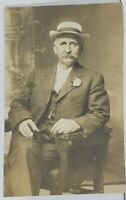 Rppc Old Gentlemen With Hat & Cigar Signed Wilson Real Photo Postcard L9