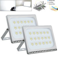 2X 100W Slim Cool White LED Flood Light Outdoor Yard Security lighting Lamp 110V