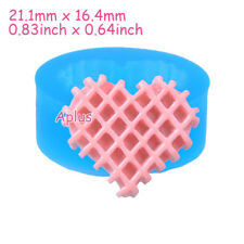 QEB399 21.1mm Heart Waffle Cookie Silicone Mold Waffer Mold Cabochon Resin Clay