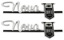 "63-64 "" Nova Chevy II "" Fender Quarter Panel Emblem Pair Trim Parts USA MADE"