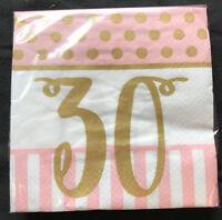 20 x Pink Chic Age 30 Birthday Napkins Pink & Gold 30th Birthday Party Napkins