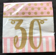 20 x Rosa Chic 30 Años Cumpleaños Servilletas y dorado 30th Fiesta