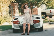 Lamborghini Girl FOUND PHOTO Color CLASSIC CAR  Original Snapshot REDHEAD  97 5