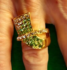 Gold Toned Ring, Size 7 With Green and Clear Rhinestones, New
