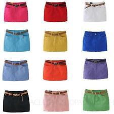 Denim Machine Washable Mini Solid Skirts for Women