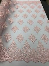 Flower-Floral Wedding Lace Fabric - Embroidered Mesh Pink Bridal By The Yard