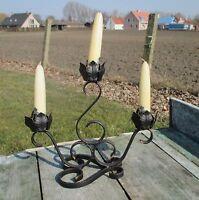 Vintage Wrought Iron Three Arm Candle Holder Flower Design