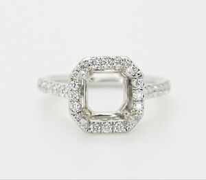 PLATINUM HALO DIAMONDS SEMI-MOUNT ENGAGEMENT RING 5US 0.65CTW