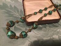 Vintage Czech Green Foil Beads. 1930s.