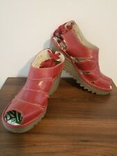 FLY LONDON Red Leather Yisa Wedge Slingback Sandals Size 39 US 8 8.5 lace up
