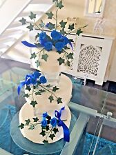 WEDDING CAKE SUGAR ROSES & IVY IN ROYAL BLUE,SET OF 3 , also in more colours,