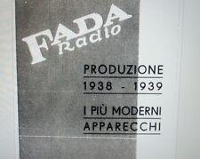 depliant brochure Fada radio la precisa produzione 1938-1939 su carta formato a4
