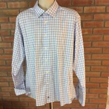 David Donahue 17 1/2 -34/35 cotton long sleeve button front flip cuff mens Shirt