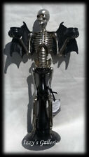 Halloween Creepy Scary Angel Of Death Wings Skeleton 2-Taper Candle Holder Decor