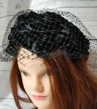 Union Made Blue Velvet Ladies Vintage Hat With bows And Netting Hx450581 Usa