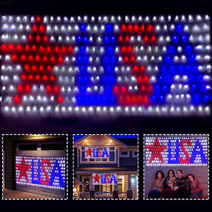 4th of July Decorations 300 LEDs USA Flag Star String Lights Outdoor Waterproof