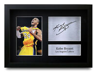 Kobe Bryant Signed A4 Framed Printed Autograph LA Lakers Basketball Print Gift