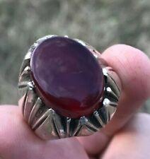 RED Yemeni Aqeeq Silver Ring Kabadi Liver Agate Akik Hakik Islamic Sufi Ring