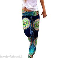 Women's Summer Floral Pants Casual High Waist  Wide Leg Long Trousers 02