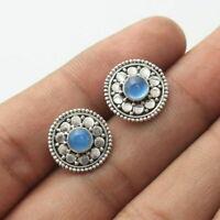925 Sterling Silver Blue Chalcedony Gemstone Stud Earrings Trendy Jewelry