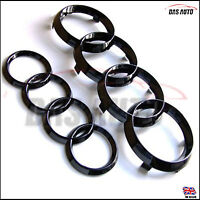 BLACK GLOSS GRILL & REAR BADGE EMBLEM RINGS AUDI s3 s4 a1 a3 a4 a5 quattro rsggs