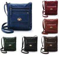 Women Girls Ladies Solid Zip Leather Satchel Cross Body Shoulder Messenger Bag