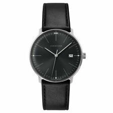 NEW Junghans 041/4465.00 Max Bill Black Leather Strap Date Calendar 38mm Watch