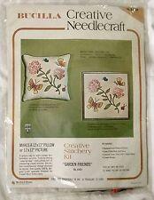 "Vintage Bucilla Creative Needlecraft Butterfly ""Garden Friends"" Crewel Kit"