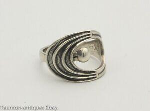 Vintage Modernist Sterling silver Norway ring Einar Modahl Adjustable size: P