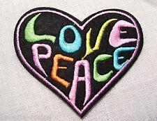 ÉCUSSON PATCH Brodé thermocollant - COEUR LOVE PEACE AMOUR **6,5 x 7,5 cm**