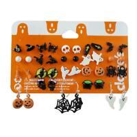 20 pairs Silver Earrings Studs Pumpkin Black Cat Bat Halloween Skull Ghost R5Q7