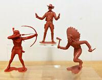 """Lot 1 - 3 x Louis Marx 1964 Plastic Western Figures 6"""" Indians & Cowboy"""