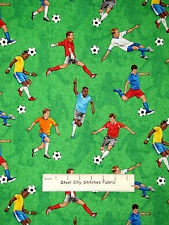 Soccer Player Team Sport Toss Green Cotton Fabric Timeless Treasures C2845  YARD
