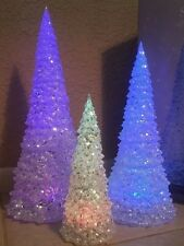 3pc Icy Crystal Battery Operated Lighted LED Color Change Christmas Trees Lights