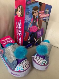 Skechers Twinkle Toes Baby Girls 7 Daisy Days Lights Up Pink Blue Sparkle Shoes