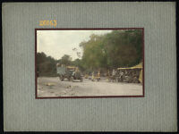 Larger size Hand tinted mounted Photograph, old truck on raod, 1910's